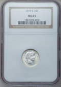 Barber Dimes: , 1910-S 10C MS63 NGC. NGC Census: (8/19). PCGS Population (15/42).Mintage: 1,240,000. Numismedia Wsl. Price for problem fre...