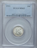 Barber Dimes: , 1911 10C MS63 PCGS. PCGS Population (202/470). NGC Census:(163/399). Mintage: 18,870,544. Numismedia Wsl. Price for proble...