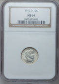 Barber Dimes: , 1912-D 10C MS64 NGC. NGC Census: (74/32). PCGS Population (72/38).Mintage: 11,760,000. Numismedia Wsl. Price for problem f...