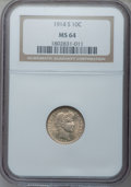 Barber Dimes: , 1914-S 10C MS64 NGC. NGC Census: (42/27). PCGS Population (44/32). Mintage: 2,100,000. Numismedia Wsl. Price for problem fr...