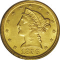 Liberty Half Eagles: , 1856-D $5 MS61 PCGS. Variety 33-BB. An attractive example that hasbold definition at the periphery but distinct weakness i...