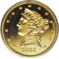 Proof Liberty Half Eagles: , 1864 $5 PR64 Deep Cameo PCGS. The 1864 proof five has a mintage of50 pieces. While this is a tiny output, the survivorship...