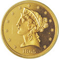 Proof Liberty Half Eagles: , 1865 $5 PR64 Deep Cameo PCGS. Production of 1865 proof half eaglesdropped from an average of more than 50 pieces over the ...
