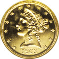 Proof Liberty Half Eagles: , 1903 $5 PR65 Cameo NGC. Early 20th century proof gold coins (andalso silver coins) are seldom found with any degree of cam...