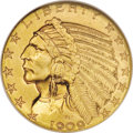 Indian Half Eagles: , 1909-D $5 MS65 NGC. The 1909-D Indian Head half eagle is the most common issue of the series, and more than 35,000 pieces h...