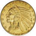 Indian Half Eagles: , 1909-D $5 MS65 PCGS. Although this date is clearly the most common of the Indian half eagle series, it is a condition rarit...
