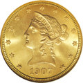 Liberty Eagles: , 1907-S $10 MS66 NGC. Few Liberty Head ten dollar coins can rivalthis one in terms of eye appeal. Radiant luster emanates f...