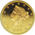 Proof Liberty Eagles: , 1898 $10 PR67 Deep Cameo PCGS. Like the other pieces in this impressive 1898 gold proof set, this Superb Gem has rich orang...