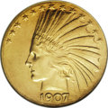 Indian Eagles: , 1907 $10 Wire Rim MS62 NGC. Light yellow-gold surfaces with faintgreenish tendencies. This piece is satiny and fully lustr...