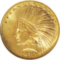 Indian Eagles: , 1930-S $10 MS65 NGC. A highly lustrous Gem with intermingledorange-gold and lemon-yellow frost. A small scrape in the left...