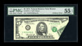 Error Notes:Foldovers, Fr. 1973-A $5 1974 Federal Reserve Note. PMG About Uncirculated 55EPQ.. ...