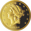 Proof Liberty Double Eagles: , 1898 $20 PR66 Ultra Cameo NGC. This phenomenal double eagleconcludes our offering of a complete run of 1898 proof gold fro...