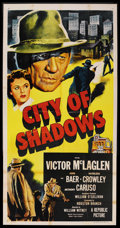 "Movie Posters:Crime, City of Shadows (Republic, 1955). Three Sheet (41"" X 81""). Crime...."
