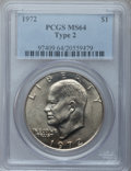Eisenhower Dollars, 1972 $1 Type Two MS64 PCGS. PCGS Population (418/50). Numismedia Wsl. Price for problem free NGC/PCGS c...
