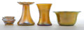 Art Glass:Other , FOUR SMALL AMERICAN GLASS ITEMS . Comprising a gold glass SteubenAurene bowl, two gold Tiffany Favrile vases, and a gold Ti...(Total: 4 Items)