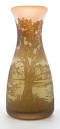 Art Glass:Galle, GALLE GLASS CABINET VASE . Green and amber glass with ochre overlay etched in landscape motif with mountains, circa 1900 . M...