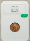 Proof Indian Cents: , 1870 1C PR64 Red and Brown NGC. CAC. NGC Census: (92/90). PCGS Population (78/40). Mintage: 1,000. Numismedia Wsl. Price fo...