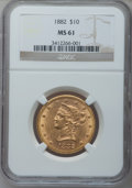 Liberty Eagles: , 1882 $10 MS61 NGC. NGC Census: (5763/4442). PCGS Population(2307/2243). Mintage: 2,324,480. Numismedia Wsl. Price for prob...