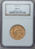 Liberty Eagles: , 1893 $10 MS61 NGC. NGC Census: (10031/18693). PCGS Population(5229/8888). Mintage: 1,840,895. Numismedia Wsl. Price for pr...