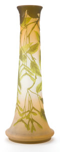 Glass, GALLE GLASS VASE . Pink glass with green cameo overlay in a vine motif, circa 1900 . Marks: Galle (cameo) (star) . 18-1/...