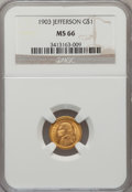 Commemorative Gold: , 1903 G$1 Louisiana Purchase/Jefferson MS66 NGC. NGC Census:(390/81). PCGS Population (521/72). Mintage: 17,500. Numismedia...