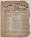 Books:Americana & American History, [Boston Newspaper]. The World in a Nut Shell. Boston: [n.p.], August 26, 1833. Single folded leaf. Toned and tatter...