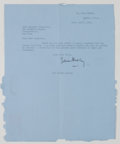 Autographs:Celebrities, Julian Huxley Typed Letter Signed....