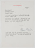 Autographs:Authors, Edna Ferber Typed Letter Signed....