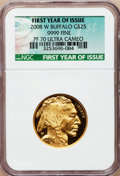 Modern Bullion Coins, 2008-W $25 Buffalo First Year of Issue PR70 Ultra Cameo NGC. Ex:.9999 Fine. NGC Census: (0). PCGS Population (340). (#39...