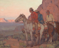 EDGAR ALWIN PAYNE (American, 1883-1947) Navajos Waiting Oil on canvas board 14-3/4 x 18-1/4 inche