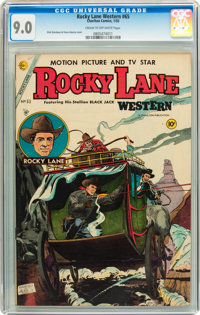 Rocky Lane Western #65 (Charlton, 1955) CGC VF/NM 9.0 Cream to off-white pages