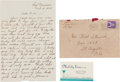 Autographs:Letters, 1945 Tony Lazzeri Handwritten Signed Letter with Signed Mailing Envelope....