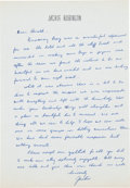 Autographs:Letters, 1960's Jackie Robinson Handwritten Signed Letter....