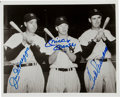 Baseball Collectibles:Photos, 1990's Joe DiMaggio, Mickey Mantle and Ted Williams Multi Signed Photograph....