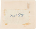 Autographs:Others, 1940's Mel Ott Signed Cut Signature....