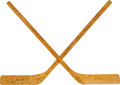 Hockey Collectibles:Others, 1972-73 Alberta Oilers Team Signed Mini Sticks - From First Year in WHA....
