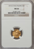 Commemorative Gold: , 1915-S G$1 Panama-Pacific Gold Dollar MS66 NGC. NGC Census:(587/60). PCGS Population (736/50). Mintage: 15,000. Numismedia...