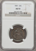 Seated Quarters: , 1857 25C AU55 NGC. NGC Census: (19/317). PCGS Population (19/240).Mintage: 9,644,000. Numismedia Wsl. Price for problem fr...