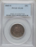 Seated Quarters, 1865-S 25C VG10 PCGS. NGC Census: (0/35). PCGS Population (4/46).Mintage: 41,000. Numismedia Wsl. Price for problem free N...