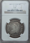 Bust Half Dollars: , 1809 50C XXX Edge Fine 15 NGC. O-110. NGC Census: (1/32). PCGSPopulation (4/56). Numismedia Wsl. Price for problem free ...