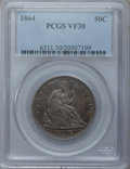 Seated Half Dollars: , 1864 50C VF30 PCGS. PCGS Population (5/88). NGC Census: (1/78).Mintage: 379,100. Numismedia Wsl. Price for problem free NG...