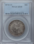 Seated Half Dollars: , 1876-CC 50C XF45 PCGS. PCGS Population (20/160). NGC Census:(9/107). Mintage: 1,956,000. Numismedia Wsl. Price for problem...