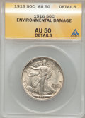 Walking Liberty Half Dollars, 1916 50C -- Environmental Damage -- ANACS. AU50 Details. NGCCensus: (13/1049). PCGS Population (17/1297). Mintage: 608,000...