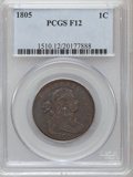 Large Cents: , 1805 1C Fine 12 PCGS. PCGS Population (9/134). NGC Census: (4/88).Mintage: 941,116. Numismedia Wsl. Price for problem free...
