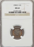 Barber Dimes: , 1908-O 10C MS64 NGC. NGC Census: (25/23). PCGS Population (23/36).Mintage: 1,789,000. Numismedia Wsl. Price for problem fr...