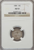 Seated Dimes: , 1884 10C AU53 NGC. NGC Census: (1/330). PCGS Population (2/312).Mintage: 3,365,505. Numismedia Wsl. Price for problem free...