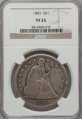 Seated Dollars: , 1843 $1 VF25 NGC. NGC Census: (4/335). PCGS Population (7/426).Mintage: 165,100. Numismedia Wsl. Price for problem free NG...