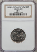 Statehood Quarters, 2004-D 25C Wisconsin Extra Leaf Low MS66 NGC. PCGS Population(201/3). Numismedia Wsl. Price for proble...