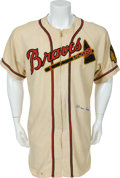 Baseball Collectibles:Uniforms, 1949 Warren Spahn Game Worn Boston Braves Jersey....