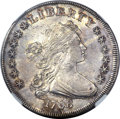 Early Dollars, 1798 $1 Large Eagle, Pointed 9, Close Date AU55 NGC. B-27, BB-113,R.2....